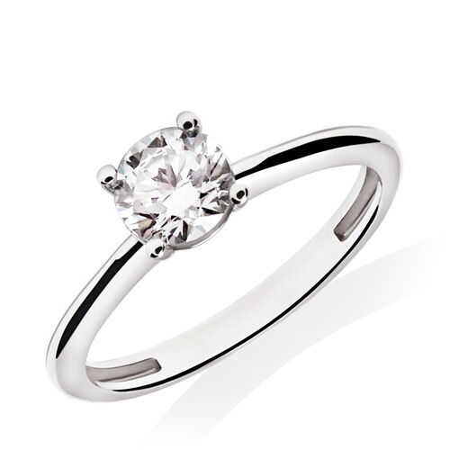 Round Solitaire Ring with Cubic Zirconia in 10ct White Gold