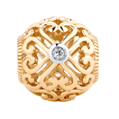 Diamond Set 10ct Yellow Gold Lace Filigree Heart Charm
