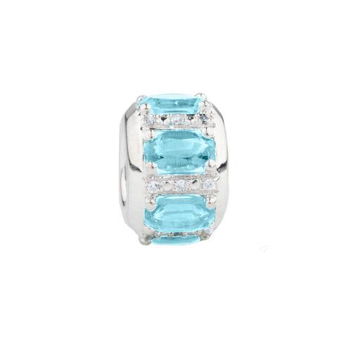 Online Exclusive - Barrel Charm with Aqua Stone & Diamonds in Sterling Silver