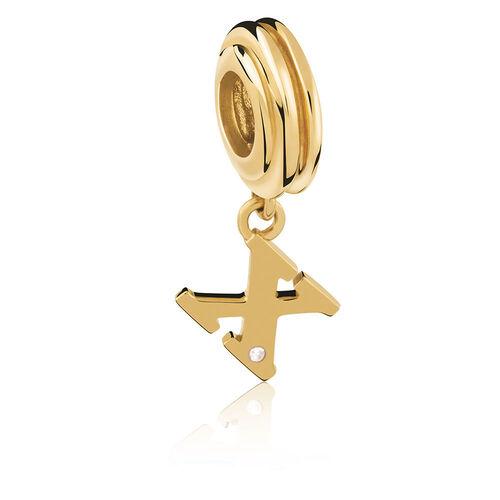Diamond Set & 10ct Yellow Gold 'X' Charm