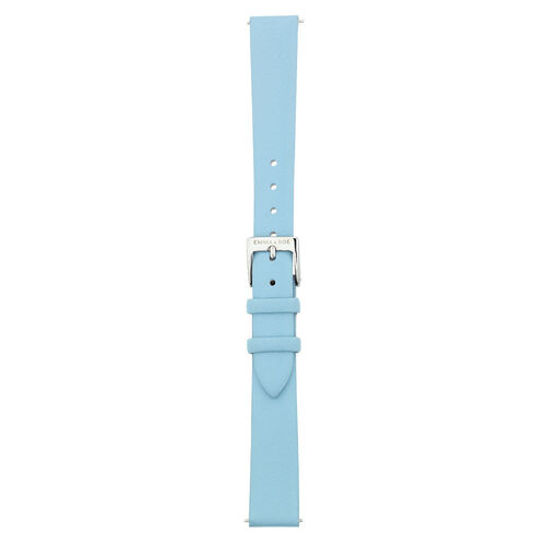 Small Watch Strap in Blue Leather & Stainless Steel