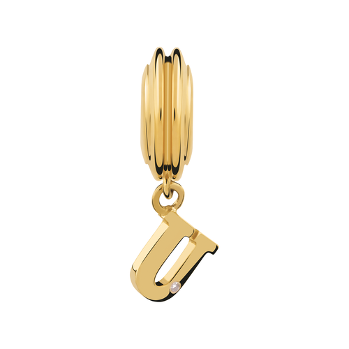 Diamond Set & 10ct Yellow Gold 'U' Charm