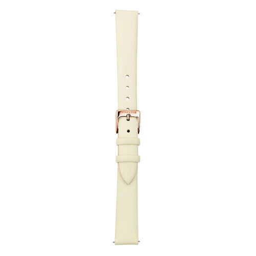 Small Watch Strap in Cream Leather & Rose Tone Stainless Steel