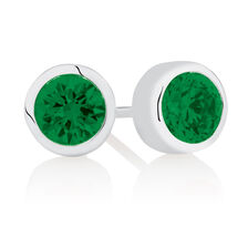 May Stud Earrings with Green Crystal in Sterling Silver