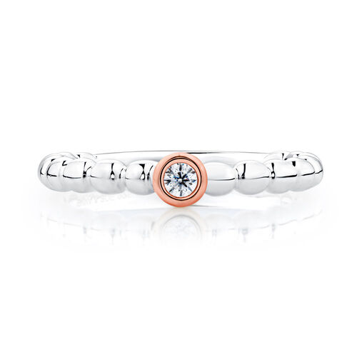 Cubic Zirconia, Sterling Silver & 10ct Rose Gold Stacker Ring