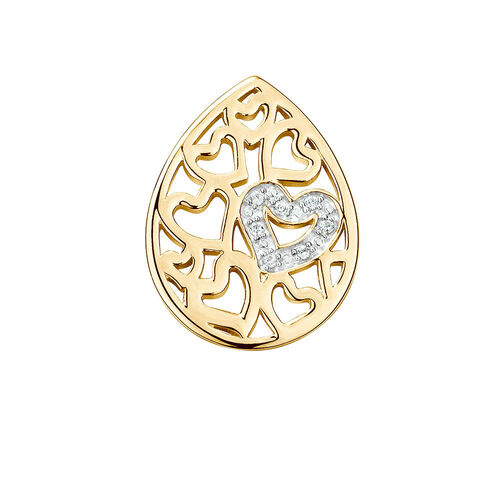 Diamond Set Heart Pattern Mini Coin Locket Insert in 10ct Yellow Gold