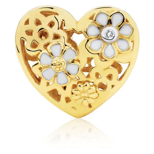 Diamond Set Daisy Heart Charm with Enamel in 10ct Yellow Gold