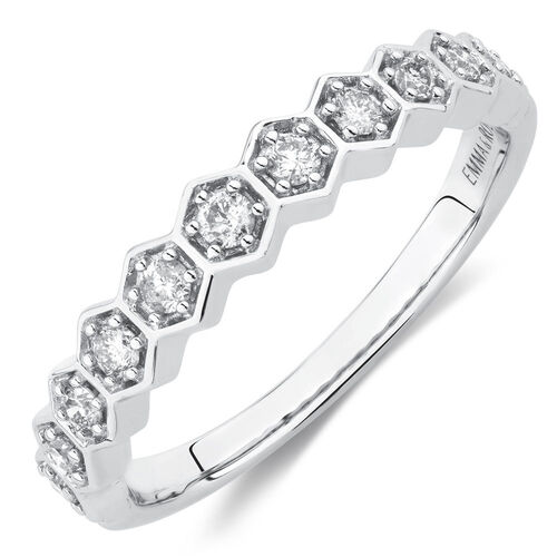 1/4 Carat TW Diamond Honeycomb Stacker Ring in 10ct White Gold