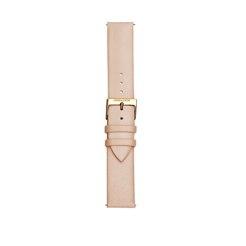 Large Watch Strap in Lobster Leather & Gold Tone Stainless Steel