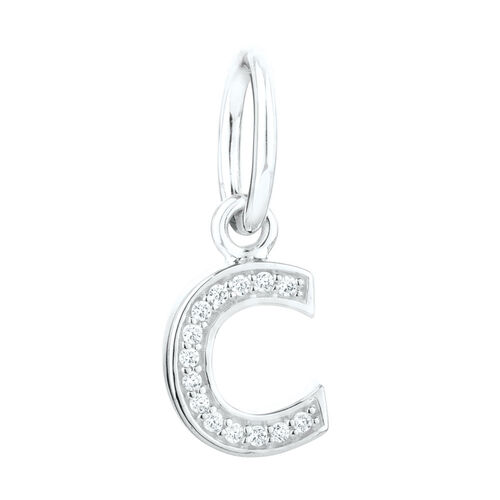 """""""C"""" Mini Pendant with Cubic Zirconia in Sterling Silver"""