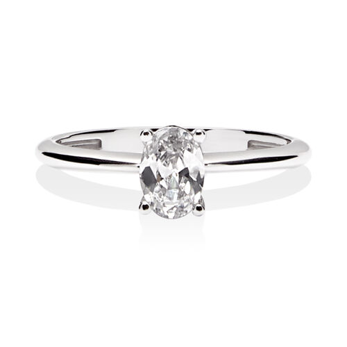 Oval Solitaire Ring with Cubic Zirconia in 10ct White Gold