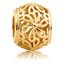 10ct Yellow Gold Filigree Flower Charm
