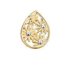 Diamond Set Daisy mini coin locket insert in 10ct Yellow Gold