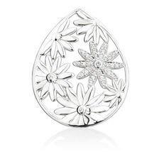 Daisy Coin Locket Inset with Cubic Zirconia in Sterling Silver