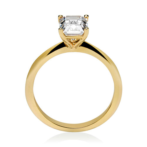 Emerald Cut Solitaire Ring with Cubic Zirconia in 10ct Yellow Gold