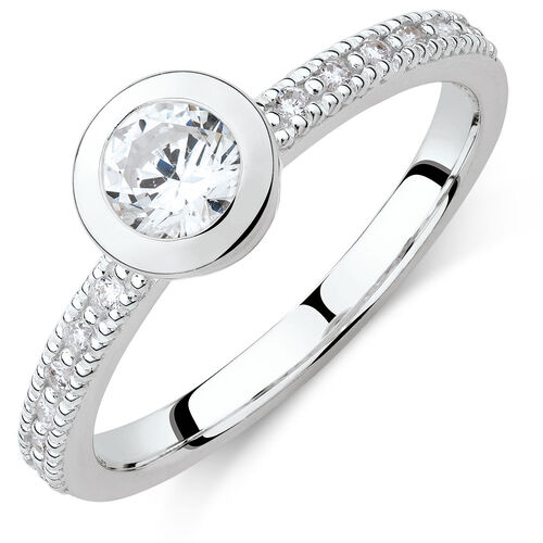 Round Stacker Ring with White Cubic Zirconia in Sterling Silver