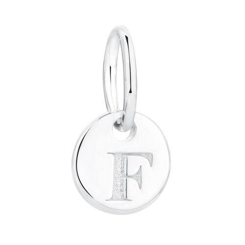 """F"" Initial Mini Pendant in Sterling Silver"