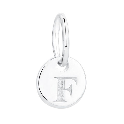 """F"" Initial Mini Pendant in Sterling Silver"
