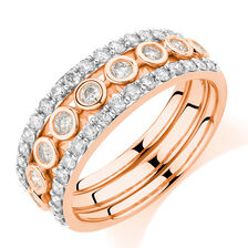 Stacker Ring Set with 1.02 Carat TW of Diamonds in 10ct Rose Gold