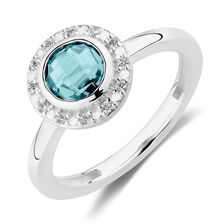 Stacker Ring with Teal Crystal & Cubic Zirconia in Sterling Silver