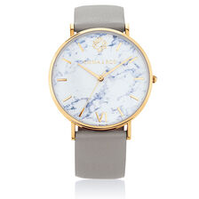 Large Watch in Grey Leather & Gold Tone Stainless Steel