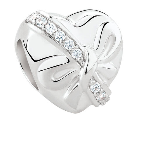 Heart Charm with Cubic Zirconia in Sterling Silver