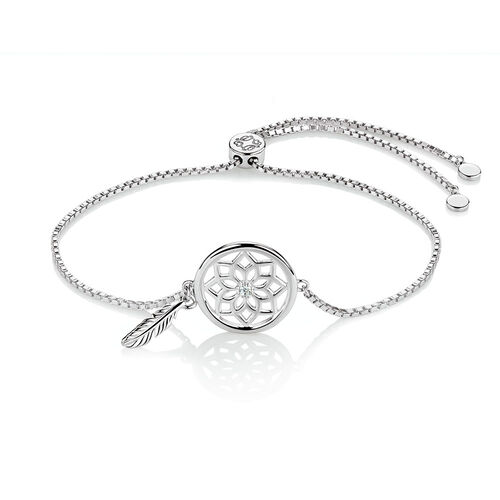 Adjustable Dream Catcher Bracelet with Cubic Zirconia in Sterling Silver