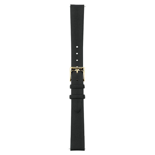 Small Watch Strap in Black Leather & Gold Tone Stainless Steel