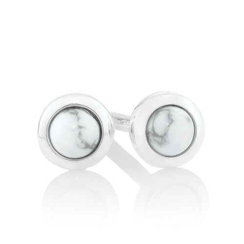 Stud Earrings with Howlite in Sterling Silver
