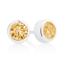 November Stud Earrings with Yellow Cubic Zirconia in Sterling Silver