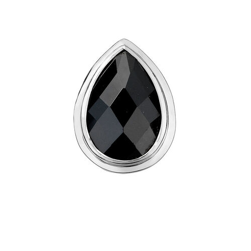 Mini Coin Locket Insert with Black Cubic Zirconia in Sterling Silver