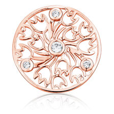 Cubic Zirconia & 10ct Rose Gold Tulip Pattern Coin Locket Insert