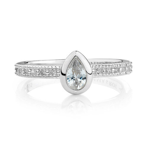Teardrop Stacker Ring with White Cubic Zirconia in Sterling Silver
