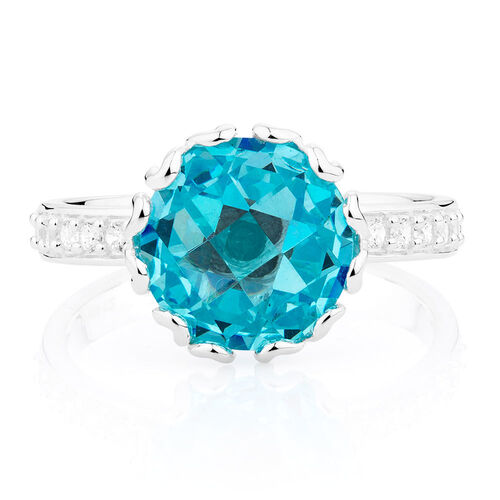 Aqua & White Cubic Zirconia Stack Ring
