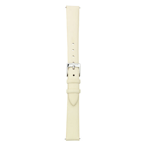 Small Watch Strap in Cream Leather & Stainless Steel