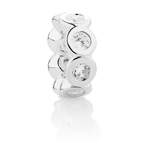 Wild Hearts Spacer with Cubic Zirconia in Sterling Silver