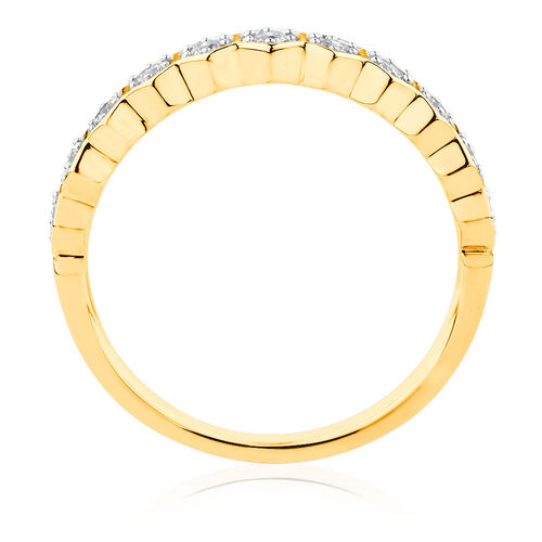1/4 Carat TW Diamond Honeycomb Stacker Ring in 10ct Yellow Gold