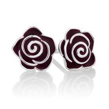 Rose Stud Earrings with Maroon Enamel in Sterling Silver