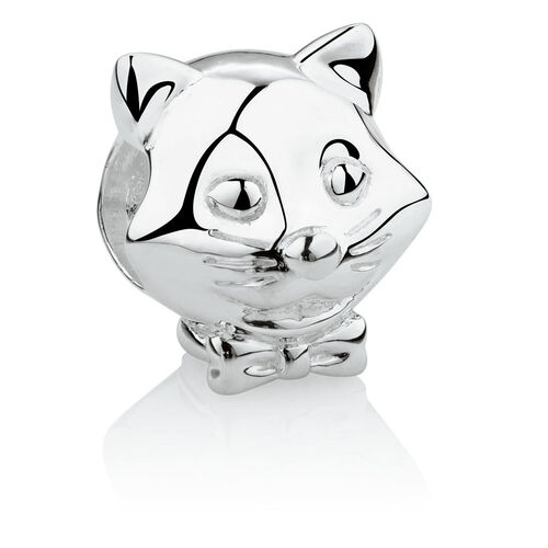 Cat with Bow Charm in Sterling Silver