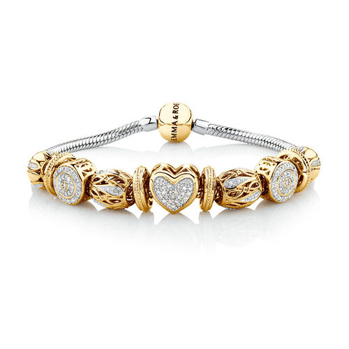 Ready to Wear Charm Bracelet with 0.55 Carat TW of Diamonds in 10ct Yellow Gold & Sterling Silver