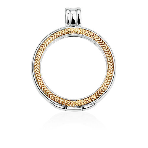 Coin Locket Case in Sterling Silver & 10ct Yellow Gold