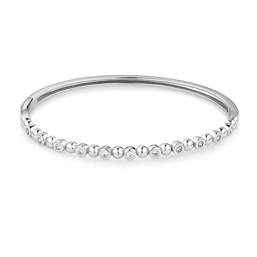 Bubble Bangle with Cubic Zirconia in Sterling Silver