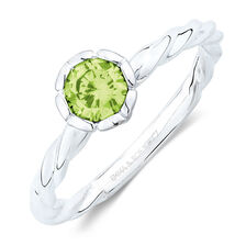 August Stacker Ring with Light Green Cubic Zirconia in Sterling Silver