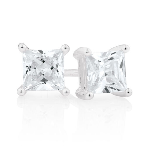 Cubic Zirconia & Sterling Silver Square Stud Earrings
