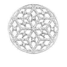 Snowflake Coin Locket Insert with Cubic Zirconia in Sterling Silver