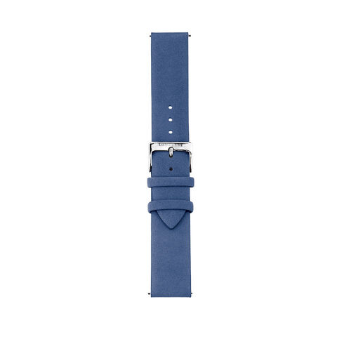 Large Watch Strap in Blue Suede Leather & Stainless Steel