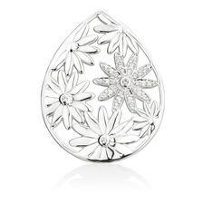 Daisy Coin Locket Insert with Cubic Zirconia in Sterling Silver