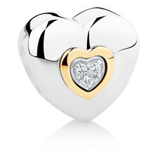 Heart Charm with Cubic Zirconia in Sterling Silver & 10ct Yellow Gold