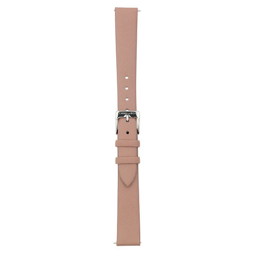 Large Watch Strap in Rose-Brown Leather & Stainless Steel