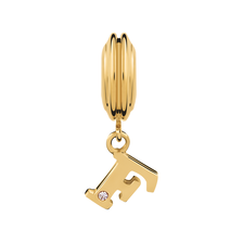 Diamond Set & 10ct Yellow Gold 'F' Charm